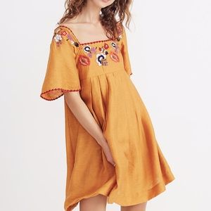 Madewell Embroidered Marigold Square Neck Dress